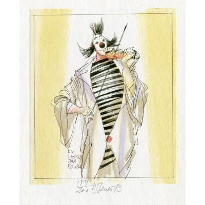 Rozčepýřený klaun houslista