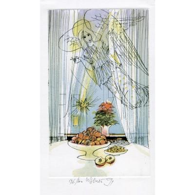 Anděl nad prostřeným novoročním stolem s jablíčky