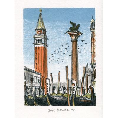 Benátky - náměstí Svatého Marka s gondolami