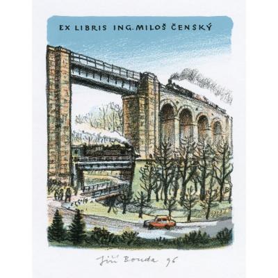 Vysoký most s dvěma vlaky