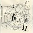 Posádka Svaté Lucie suší prádlo na palubě (Dýmka strýce Bonifáce)
