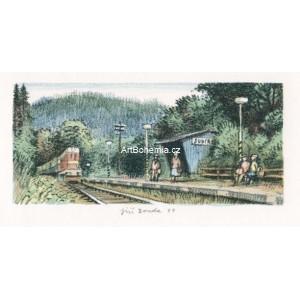 Lokomotiva na nádraží - zastávka Šubířov