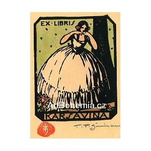 Karsavina - tanečnice v krinolině a kytice růží u jevištní rampy, opus 5