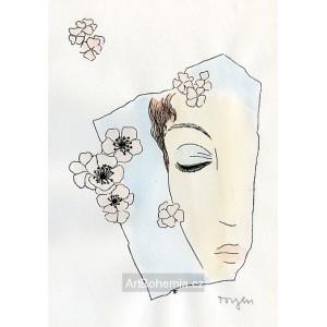Dívka s růžovými květy