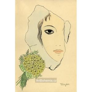 Dívka s květy violky