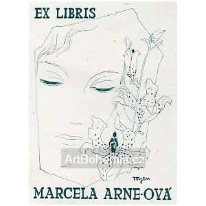 Dívka s orchidejí - exlibris Marcela Arneová