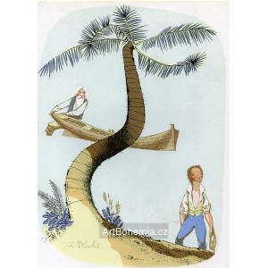 Chlapec pod palmou