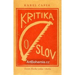 Karel Čapek - Kritika slov (linorytová obálka)