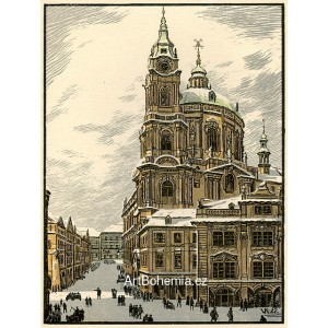 Chrám sv.Mikuláše (Praha v barevných dřevorytech)
