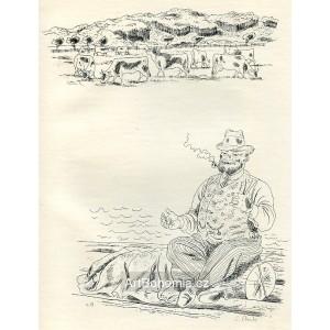 Stádo krav a muž s lulkou, opus 819