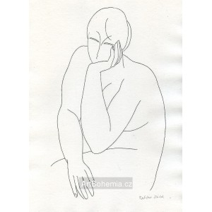 Dívčí akt s hlavou v levé ruce