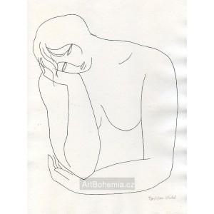 Dívčí akt s hlavou v pravé ruce I