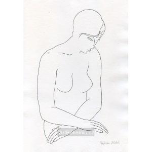 Dívčí akt s rukama v klíně