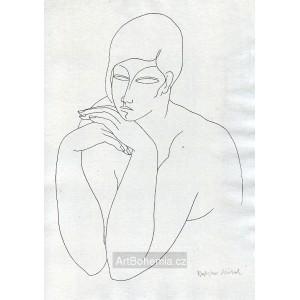 Dívčí akt s rukama pod bradou