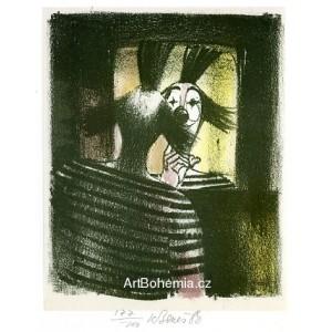 Klaun před zrcadlem