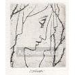 Plačící dívčí profil v závoji u trní