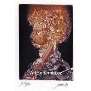 Giuseppe Arcimboldo: Oheň (fialová varianta)