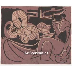 Femme couchée et homme a la guitare, opus 916 (1959)