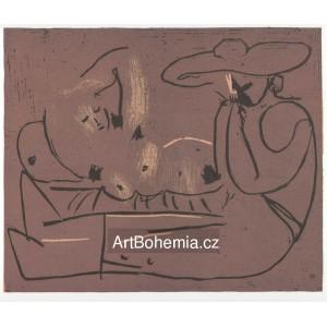 Femme couchée et homme au grand chapeau, opus 919 (1959)