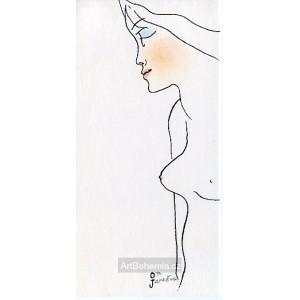 Stojící dívčí půlakt z profilu
