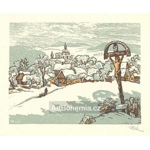 Česká vesnička v zimě