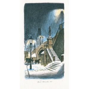 Noční Kampa s drožkářem - pohled na Karlův most