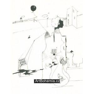 Náměstí s dívkou, balonem a budíkem
