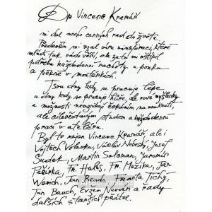 Dr Vincenc Kramář mi dal mnoho cenných rad do života (Co vypadlo z deníku)(1983)