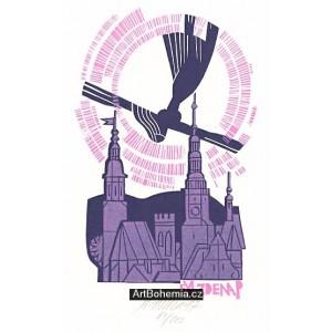 Anděl letící nad kostelem