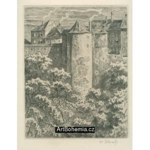 Pohled na věž Mihulku - Královská zahrada Pražského hradu