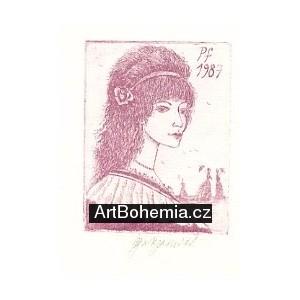 Dívčí hlava s růží ve vlasech - PF 1987 Olga Vychodilová