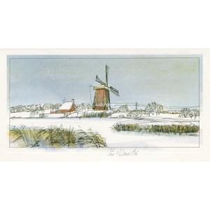 Holanská krajina s větrným mlýnem (Oostzaan)