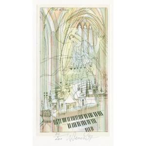 Anděl a varhany s pražskými vedutami