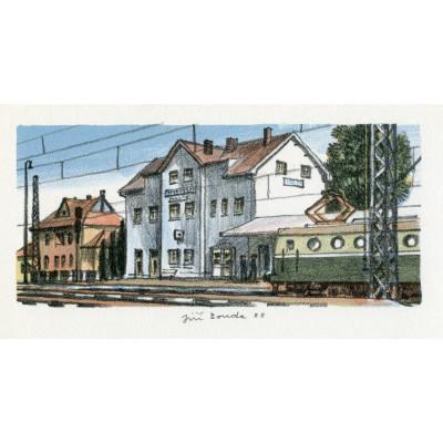 Příjezd motoráku do železniční stanice Třebovice