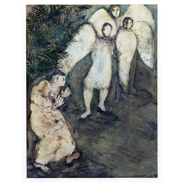 Abraham reconduit les trois Anges (Le Message Biblique)