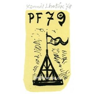 Věž s vlajkou - PF 1979 Kamil Lhoták