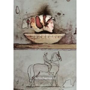 Dívčí profil a jezdec na koni (Catullus: Miluji - Proklínám!)