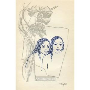 Dvě dívky s květy