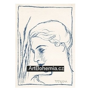 Zahleděná dívka v rákosí (modrá varianta)