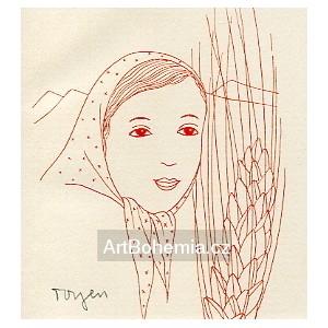 Dívka v šátku (červená varianta)