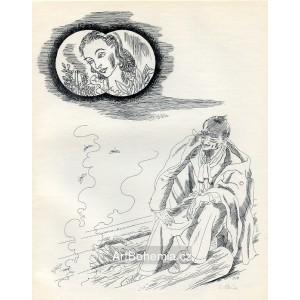 Dívčí hlava a muž u ohníčku, opus 815