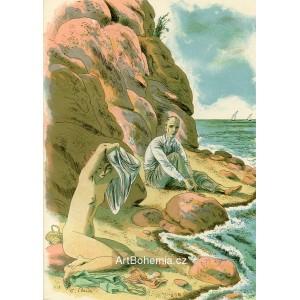Muž a svlékající se žena u moře, opus 949