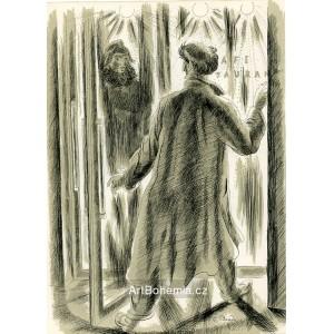 Muž a žena ve dveřích kavárny, opus 943