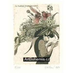 Čtenářka s květinovým kloboukem